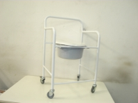 Commode, white with wheels